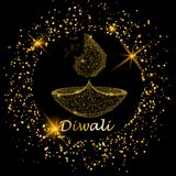 Happy diwali vector illustration. Deepavali light and fire. Happy diwali vector illustration. Deepavali light and fire festival. Gold colors, polygonal art on Stock Image