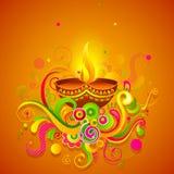 Happy Diwali. Vector illustration of Happy Diwali diya with colorful floral