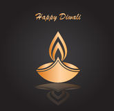 Happy diwali vector. Happy diwali traditional festive lamp symbol golden color on dark background vector illustration Royalty Free Stock Photos