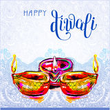 Happy Diwali watercolor greeting card to indian fire festival wi. Th hand lettering inscription, vector Stock Images