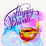 Happy Diwali watercolor greeting card to indian fire festival wi. Th hand lettering inscription, vector illustration Stock Photo