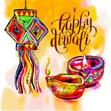 Happy Diwali watercolor greeting card to indian fire festival wi. Th hand lettering inscription, vector illustration Stock Photos