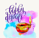 Happy Diwali watercolor greeting card to indian fire festival wi. Th hand lettering inscription, vector illustration Royalty Free Stock Image