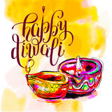Happy Diwali watercolor greeting card to indian fire festival wi. Th hand lettering inscription, vector illustration Royalty Free Stock Photo