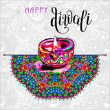 Happy Diwali watercolor greeting card to indian fire festival wi. Th hand lettering inscription, vector illustration Royalty Free Stock Photography