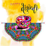 Happy Diwali watercolor greeting card to indian fire festival wi. Th hand lettering inscription, vector illustration Stock Images