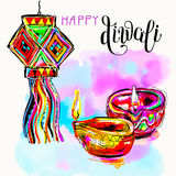 Happy Diwali watercolor greeting card to indian fire festival wi. Th hand lettering inscription, vector illustration Royalty Free Stock Images