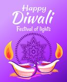 Happy Diwali 2017 Wish Vector Illustration. Happy Diwali 2017 wish on colorful festive background illuminated by two traditional candles. Vector illustration Stock Image