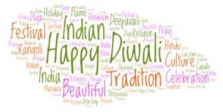 Happy Diwali word cloud. stock illustration