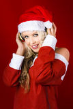 Happy Dj Christmas Girl Listening To Xmas Music Royalty Free Stock Images