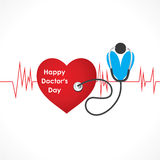 Happy doctor day design. Doctor with stethoscope connect to heart design vector Royalty Free Stock Photos
