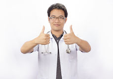 Happy  doctor at the doctors office Royalty Free Stock Image
