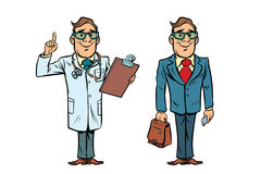 Happy doctor with glasses and a businessman Royalty Free Stock Photos