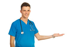 Happy doctor man making presentation Stock Photo