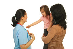 Happy doctor ,mother and her daughter Stock Image