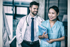 Happy doctor and nurse in hospital Royalty Free Stock Photo