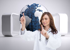 Happy doctor pointing Stock Photography