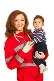 Happy doctor woman with baby Royalty Free Stock Photos