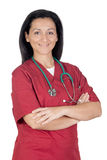 Happy doctor woman with burgundy clothing Stock Image