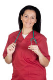 Happy doctor woman with burgundy clothing Stock Images