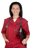 Happy doctor woman with burgundy clothing Royalty Free Stock Photos