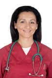 Happy doctor woman with burgundy clothing Stock Photos