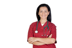 Happy doctor woman with burgundy clothing Royalty Free Stock Images