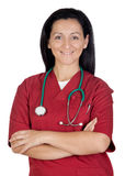 Happy doctor woman with burgundy clothing Royalty Free Stock Image