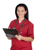 Happy doctor woman with clipboard Royalty Free Stock Image