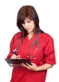 Happy doctor woman with clipboard Stock Photo