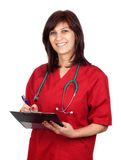Happy doctor woman with clipboard Stock Photos