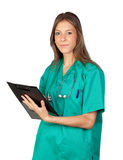 Happy doctor woman with clipboard Royalty Free Stock Photos