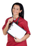 Happy doctor woman with clipboard in blank Royalty Free Stock Images