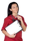 Happy doctor woman with clipboard in blank Royalty Free Stock Image