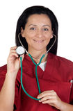 Happy doctor woman listening with stethoscope Royalty Free Stock Photo