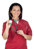 Happy doctor woman listening with stethoscope Royalty Free Stock Photography