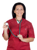 Happy doctor woman listening with stethoscope Stock Photos