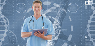 Happy doctor writing on clipboard beside windows. Against view of dna Royalty Free Stock Image