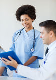 Happy doctors meeting at hospital office Royalty Free Stock Photography
