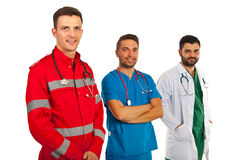 Happy doctors in a row Royalty Free Stock Photos