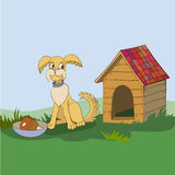 Happy dog and booth. Vector illustration Happy dog and booth Royalty Free Stock Images