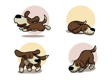 Happy dog 4 action Isolate Vector illustration. Cute happy dog in 4 action. Isolate Vector illustration cartoon style. for art work ,website, printing Stock Images