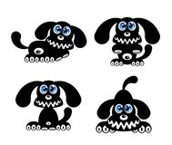 Happy Dog with blue eyes. Happy Puppy Dog silhouettes. Vector Illustration Stock Photos