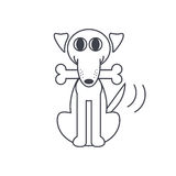 Happy dog with a bone. In his mouth wagging tail. Dog adoption concept. Vector line icon  on white background