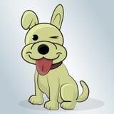 Happy Dog cartoon vector illustration. Beautiful Happy Dog cartoon vector illustration on a blue background Stock Photo
