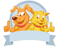 Happy Dog and Cat with a blank ribbon Stock Photography