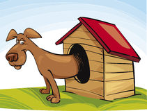 Happy Dog in Doghouse Royalty Free Stock Images