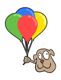 Happy dog face with balloons Royalty Free Stock Photography