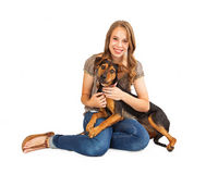 Happy Dog and Girl Royalty Free Stock Photo