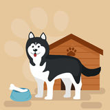 Happy Dog kennel, house with bone and bowl of food Royalty Free Stock Photo